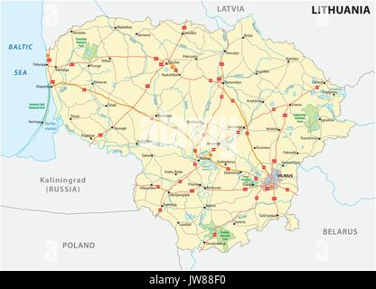 Lithuania road and national park map - Stock Photo