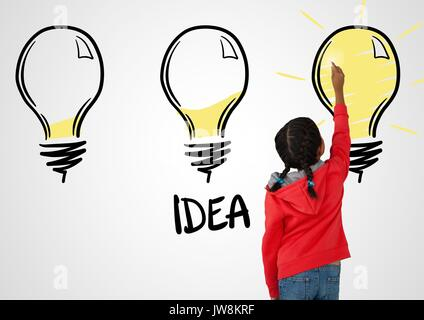 Digital composite of Girl drawing light bulbs idea - Stock Photo