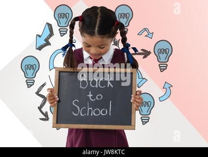 Digital composite of Girl holding back to school blackboard with light bulbs - Stock Photo
