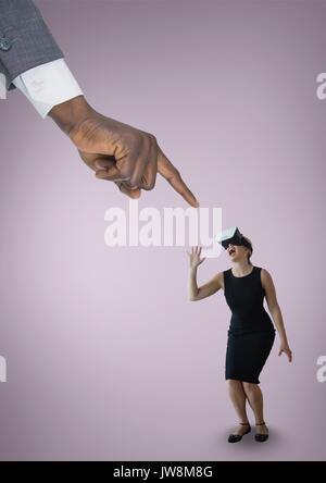 Digital composite of Hand pointing at scared business woman in VR headset against pink background - Stock Photo
