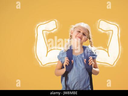 Digital composite of Student girl with fists graphic standing against yellow background - Stock Photo