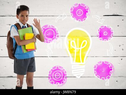 Digital composite of Schoolboy holding schoolbooks with colorful light bulb setting gear cog graphics - Stock Photo