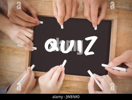 Digital composite of many hands writing quiz on blackboard