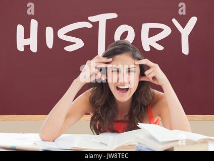 Digital composite of Angry student girl at table against red blackboard with history text - Stock Photo