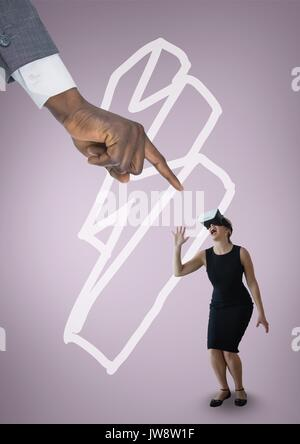 Digital composite of Hand pointing at scared business woman in VR headset against pink background with lightning - Stock Photo