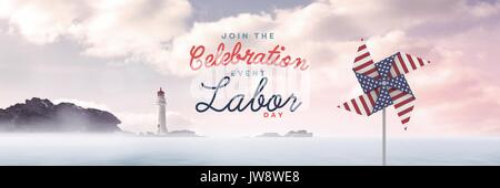 Digital composite of Celebration labor day text and USA wind catcher in front of sea and lighthouse - Stock Photo