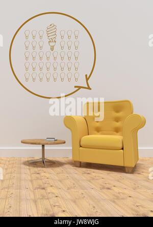 Digital composite of Conceptual graphic on 3D room wall - Stock Photo