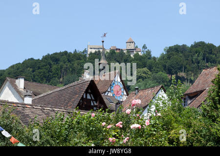 Castle Hohenklingen and rooftops in Stein am Rhein, Switzerland. - Stock Photo