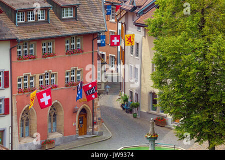 View over beautiful border town Laufenburg, Switzerland. - Stock Photo