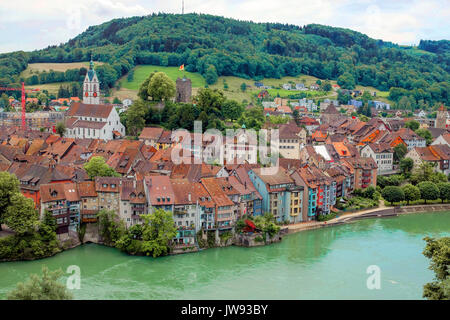 View over beautiful town Laufenburg, Switzerland - Stock Photo