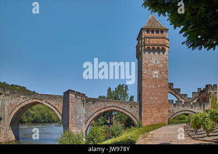 Europe, France, Occitanie, Lot, Cahors city, Valentré fortified bridge, Lot river - Stock Photo