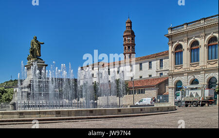 Europe, France, Occitanie, Lot, Cahors city, Mitterand square - Stock Photo