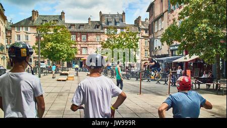 Europe, France, Occitanie,Aveyron,  Rodez city, Bourg square, BMX Cycling,