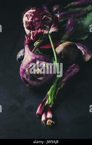 Assortment of purple vegetables - Stock Photo