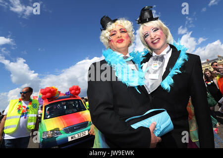 Participants take part in the annual Brighton Pride Parade at the seaside town, UK, Saturday August 5, 2017.  2017 - Stock Photo