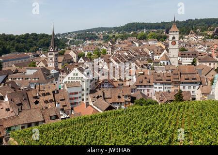 View over medieval Old Town of Schaffhausen, Switzerland. - Stock Photo
