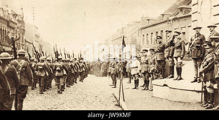 Canadian liberators of Denain, France march past Edward Prince of Wales (the future King Edward VIII) & General - Stock Photo