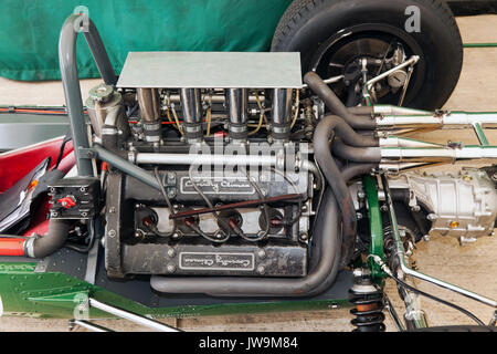 View of a Coventry Climax Engine in  a Lotus at the Silverstone Classic 2017 - Stock Photo