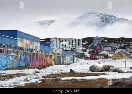 Graffiti on school building in Nuuk, capital city of Greenland - Stock Photo