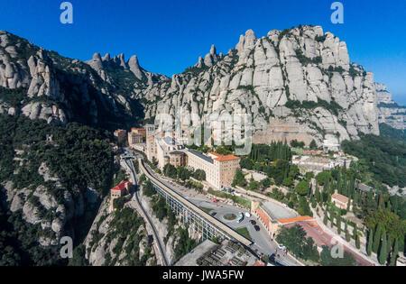 Aerial view of Santa Maria de Montserrat Abbey