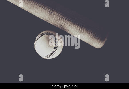 Vintage Baseball Bat And Ball Laying Flat On The Black Background Showing Players Equipment