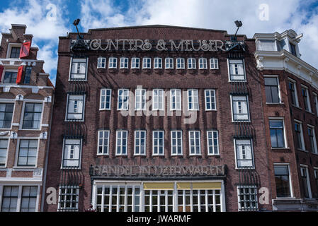 Historic canal house at Prinsengracht, Amsterdam, North Holland, Netherlands - Stock Photo