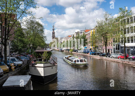 The Prinsengracht with the Westerkerk, Amsterdam, North Holland, Netherlands - Stock Photo
