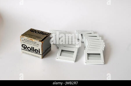 Vintage box of frames for slides, Rollei Brand - Stock Photo