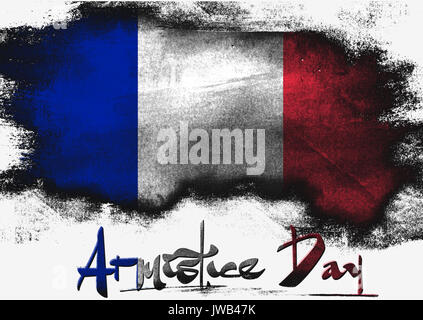 Armistice Day in France painted with brush on solid background, - Stock Photo