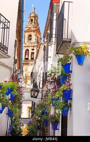Patio de las Flores, Cathedral tower of Cordoba, Spain - Stock Photo