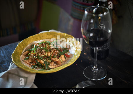 Stir-fried glass noodles with minced pork and tomato, fried vermicelli with eggs mixed with vegetable, Home made - Stock Photo