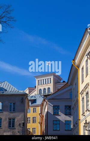 Finnish flag in Tallinn, Estonia - Stock Photo