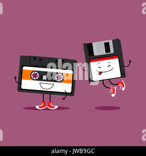 Audio cassette tape and floppy disc. Funny cartoon illustration about retro gadgets from eighties and nineties - Stock Photo