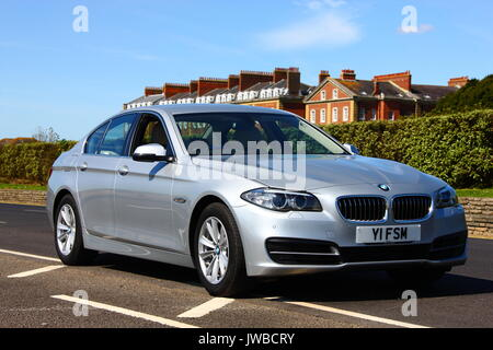 Silver BMW 5Series Saloon Motor Car F10 version introduced in
