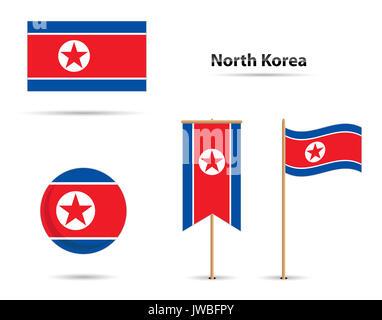 Set of north korea flags - Stock Photo