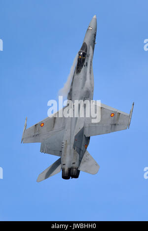 Spanish Air Force McDonnell Douglas EF-18AM Hornet jet displaying at an airshow. Serial 15-26. Modernised C.15 of - Stock Photo