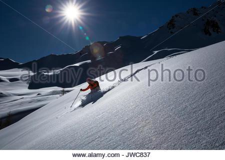 Skiing downhill at Forca Rossa,near Marmolada. - Stock Photo