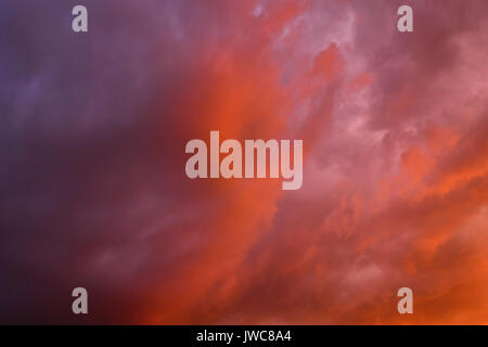 Dramatic cloudy sky against thunderstorm, Baden-Württemberg, Germany - Stock Photo