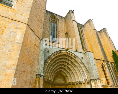 Girona Cathedral in Catalonia, Spain, Romanesque, Gothic and Baroque architecture - Stock Photo
