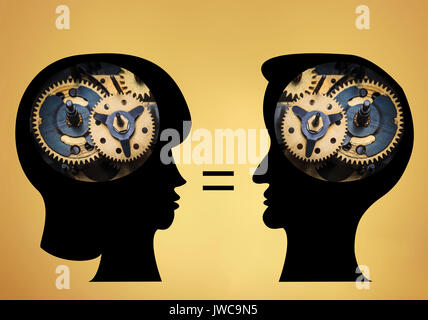 The male and female heads is filled with gears on gold background. - Stock Photo