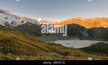 View of Glacier Lake Mueller Lake, rear Mount Cook at sunset, Mount Cook National Park, Southern Alps, Hooker Valley, - Stock Photo
