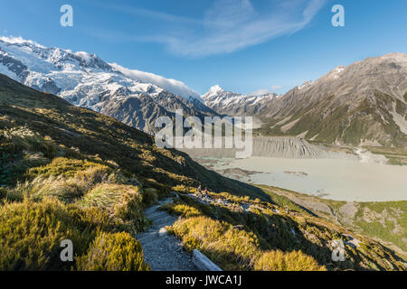 View of Glacier Lake Mueller Lake, Rear Mount Cook, Sealy Tarns Trail, Mount Cook National Park, Southern Alps, - Stock Photo