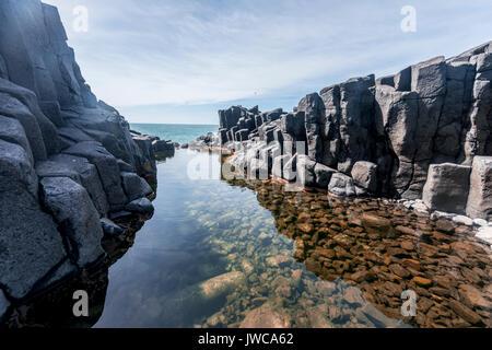 Water gathering between rocks, Roman Bath, Hexagonal basalt column by the Sea, Blackhead, Dunedin, Otago, South Island