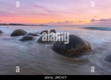 Moeraki boulders, at sunrise, geological formation, Koekohe Beach, Moeraki, East Coast, Otago, South Island, New - Stock Photo