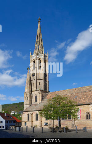 Protestant castle church Schlosskirche, Bad Dürkheim, wine route , Palatinate, Rhineland-Palatinate, Germany - Stock Photo