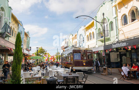 Historic centre with Tram, Cable Car Christchurch, Canterbury, South Island, New Zealand, Oceania - Stock Photo