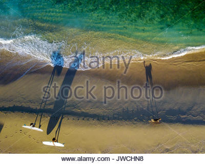 A drone photograph of two women and their dog searching for waves on the coast near Cabo. - Stock Photo