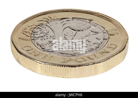 New 2017 £1 coin, reverse side, tails, depicting the rose, leek, thistle and clover representing Great Britain  - Stock Photo