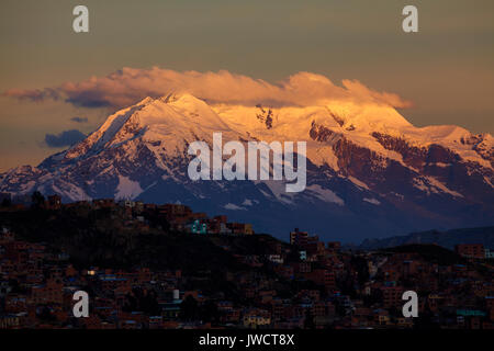 Sunset on Illimani (6438m/21,122ft), La Paz, Bolivia, South America - Stock Photo