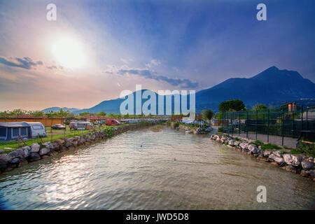 Resort camping on lake Garda in Italy. - Stock Photo